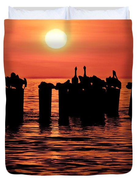 Sundown With Pelicans Duvet Cover