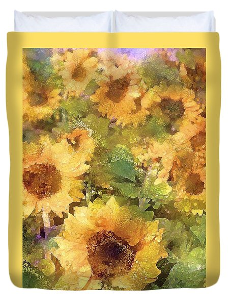 Duvet Cover featuring the photograph Sunflower 29 by Pamela Cooper