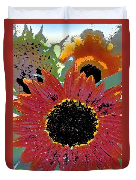 Duvet Cover featuring the photograph Sunflower 31 by Pamela Cooper