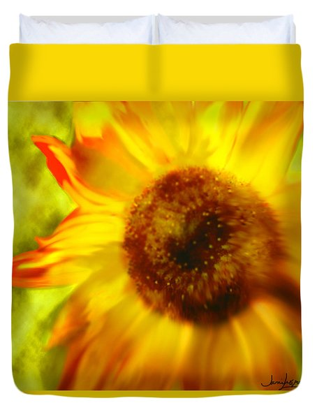 Duvet Cover featuring the digital art Sunflower-a-blaze by Janie Johnson