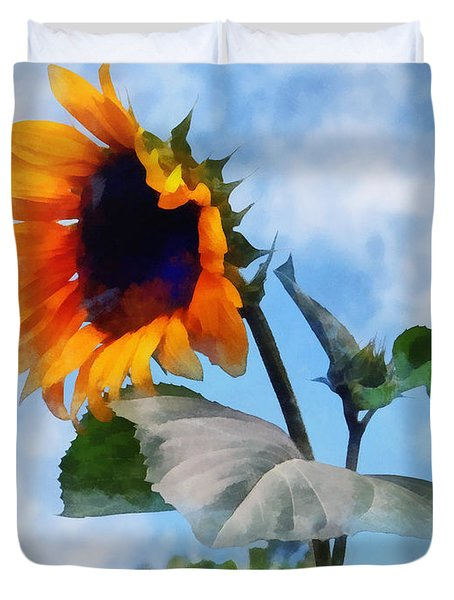 Sunflower Against The Sky Duvet Cover by Susan Savad
