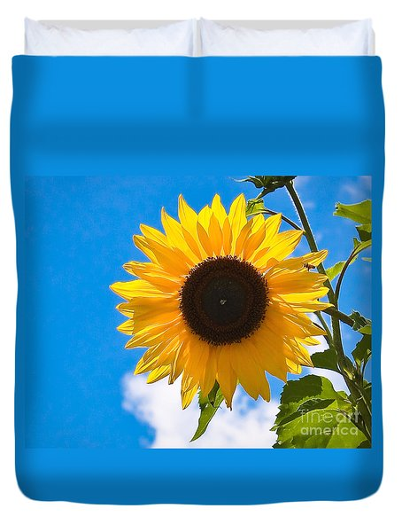 Sunflower And Bee At Work Duvet Cover