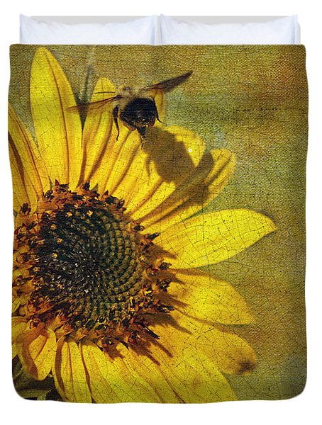 Sunflower And Bumble Bee Duvet Cover