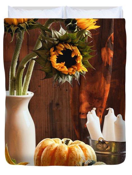 Sunflower And Gourds Still Life Duvet Cover by Amanda Elwell