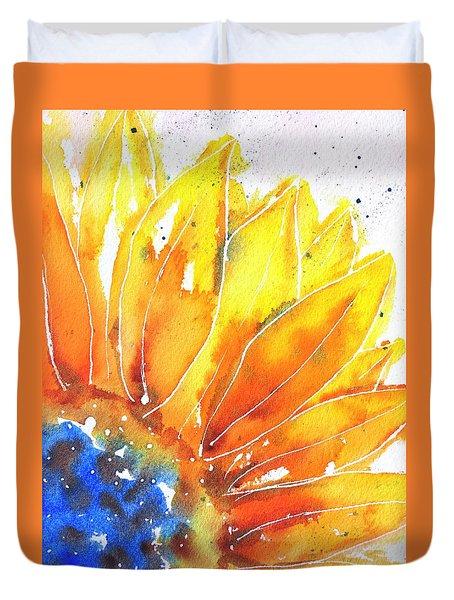 Sunflower Blue Orange And Yellow Duvet Cover