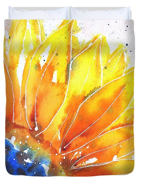 Sunflower Blue Orange And Yellow Duvet Cover