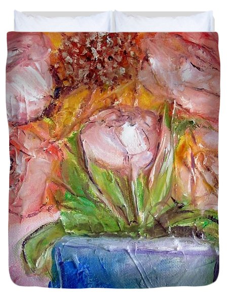 Duvet Cover featuring the painting Sunflower Bouquet by Deborah Nell