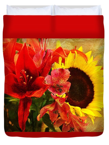 Sunflower Bouquet Duvet Cover by Sandi OReilly