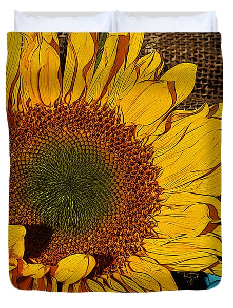 Sunflower Burlap And Turquoise Duvet Cover