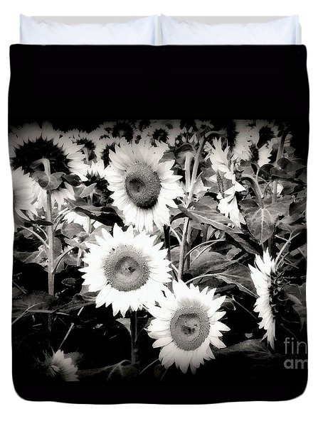 Sunflower Cinema In Black And White Duvet Cover by Janine Riley