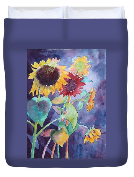 Duvet Cover featuring the painting Sunflower Color by Nancy Jolley