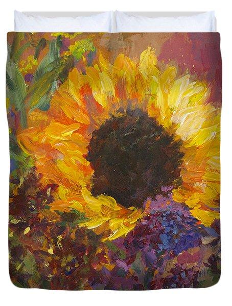 Sunflower Dance Original Painting Impressionist Duvet Cover
