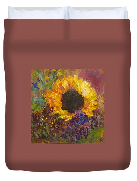 Sunflower Dance Original Painting Impressionist Duvet Cover