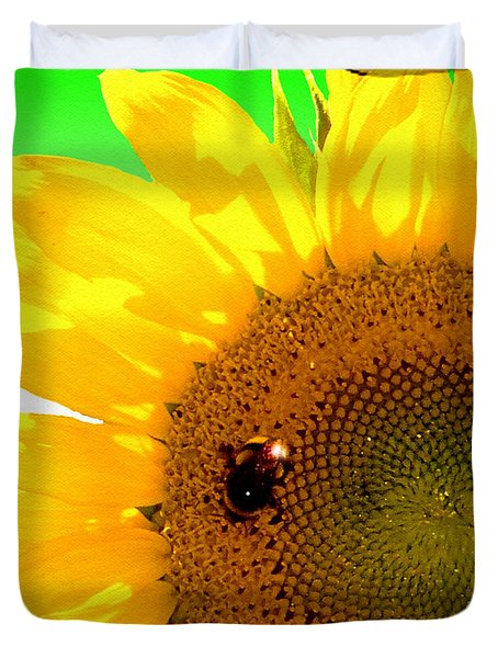 Duvet Cover featuring the digital art Sunflower by Daniel Janda