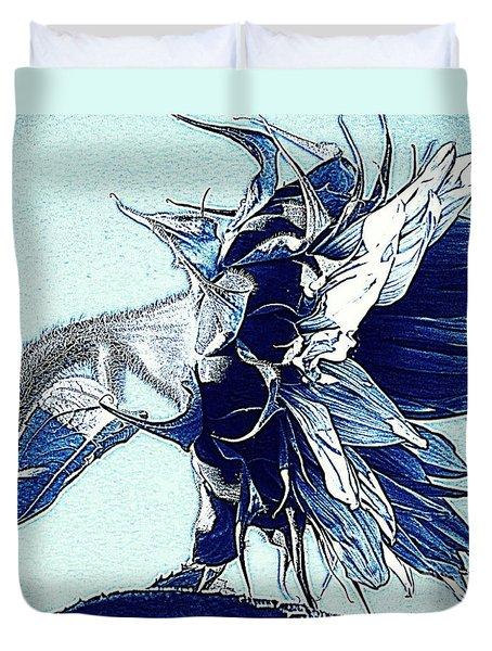 Sunflower - Denim Blues And White Duvet Cover by Janine Riley