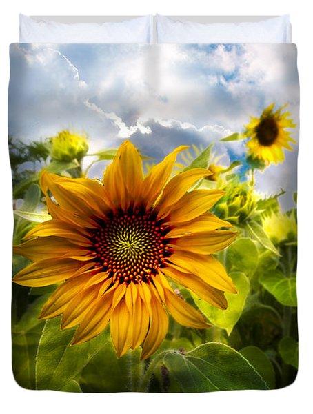 Sunflower Dream Duvet Cover by Debra and Dave Vanderlaan