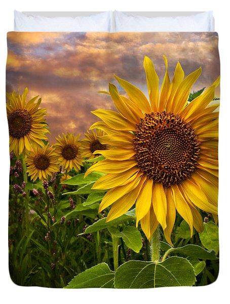 Sunflower Dusk Duvet Cover by Debra and Dave Vanderlaan
