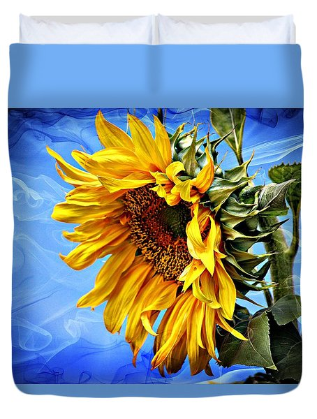 Duvet Cover featuring the photograph Sunflower Fantasy by Barbara Chichester