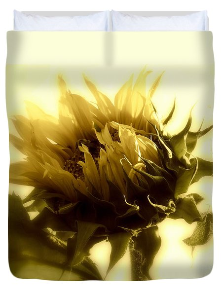 Duvet Cover featuring the photograph Sunflower - Fare Thee Well by Janine Riley