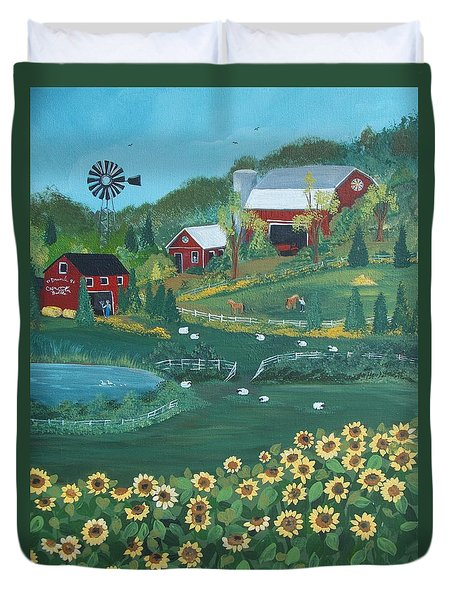 Duvet Cover featuring the painting Sunflower Farm by Virginia Coyle