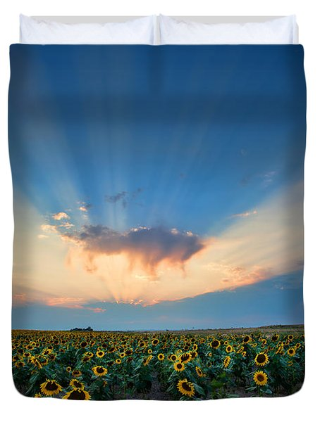 Sunflower Field At Sunset Duvet Cover