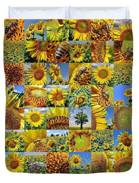 Sunflower Field Collage In Yellow Duvet Cover