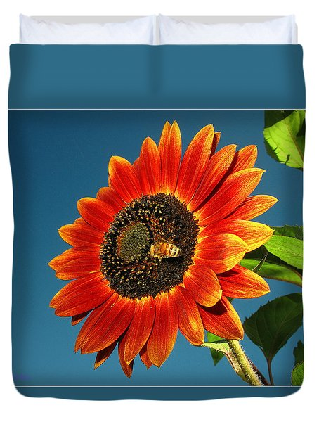 Duvet Cover featuring the photograph Sunflower Honey Bee by Joyce Dickens