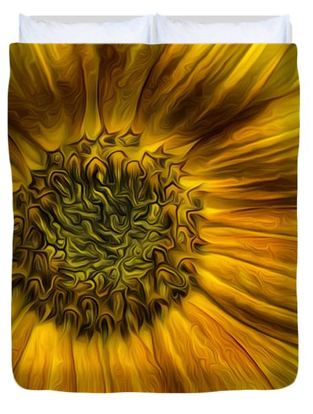 Sunflower In Oil Paint Duvet Cover