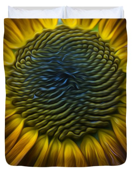Sunflower In Rain Duvet Cover