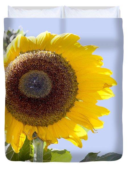Sunflower In The Blue Sky Duvet Cover by David Millenheft