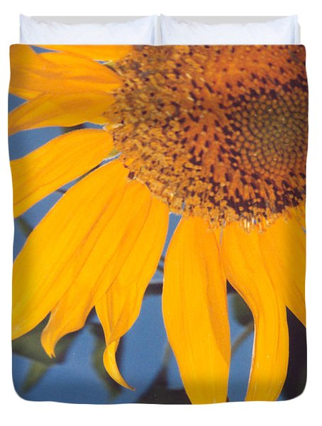 Sunflower In The Corner Duvet Cover by Heather Kirk
