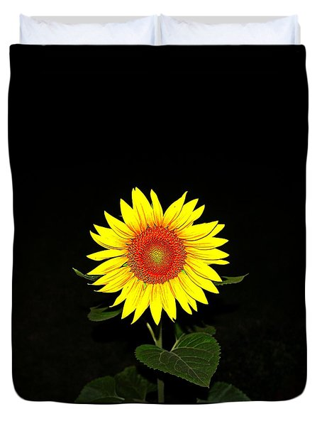 Duvet Cover featuring the photograph Sunflower In The Night by Nick Kloepping