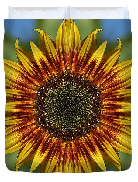 Sunflower Kaleidoscope Duvet Cover by Cindi Ressler