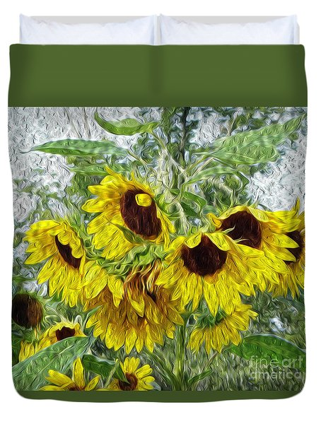 Duvet Cover featuring the photograph Sunflower Morn II by Ecinja Art Works
