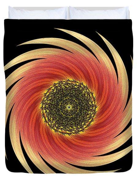 Sunflower Moulin Rouge Vii Flower Mandala Duvet Cover by David J Bookbinder