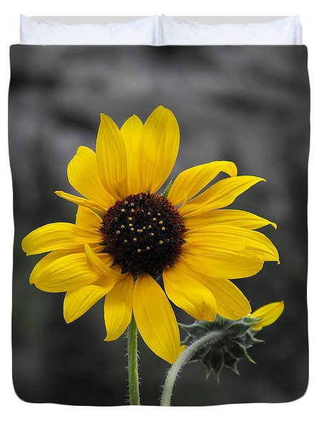 Sunflower On Gray Duvet Cover