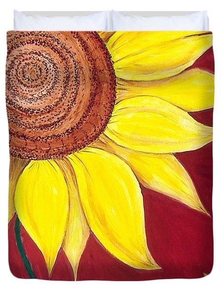 Sunflower On Red Duvet Cover