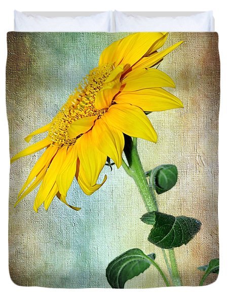 Sunflower On Textured Canvas Duvet Cover by Kaye Menner