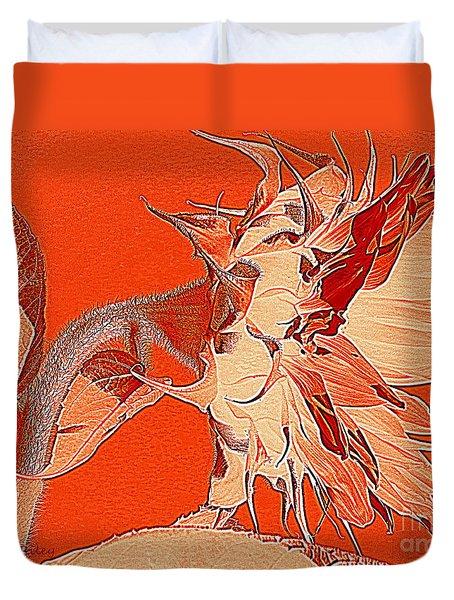 Sunflower - Orange Deco Burst Duvet Cover by Janine Riley