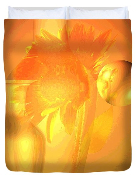 Sunflower Orange With Vases Posterized Duvet Cover by Joyce Dickens