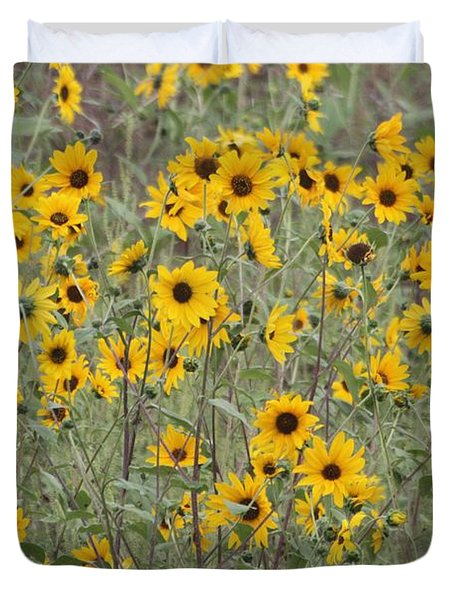 Sunflower Patch On The Hill Duvet Cover by Tom Janca