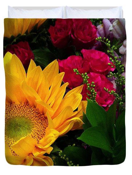Sunflower Reflections Duvet Cover by Meghan at FireBonnet Art