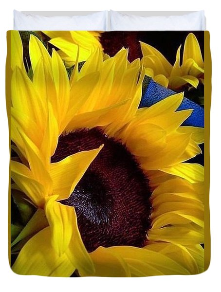 Sunflower Sunny Yellow In New Orleans Louisiana Duvet Cover by Michael Hoard