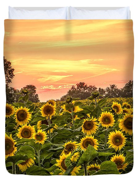 Duvet Cover featuring the photograph Sunflower Sunset by Steven Bateson