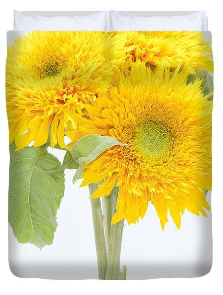 Sunflower Trio Duvet Cover by Anne Gilbert