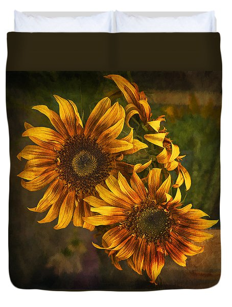 Sunflower Trio Duvet Cover by Priscilla Burgers
