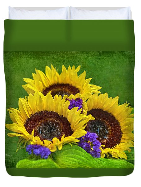 Sunflower Trio Duvet Cover by Sandi OReilly