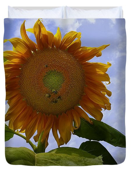 Sunflower With Busy Bees Duvet Cover by Chris Flees