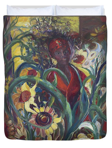 Duvet Cover featuring the painting Sunflower Woman #1 by Avonelle Kelsey