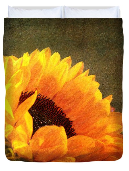Sunflower - You Are My Sunshine Duvet Cover by Lianne Schneider